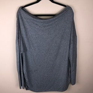 Maurices Grey Drape Neck Long Sleeve Top